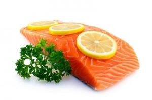Fresh salmon with parsley and lemon